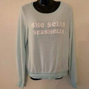 Wildfox Sweatshirt She Sells Sea Shells Green XS